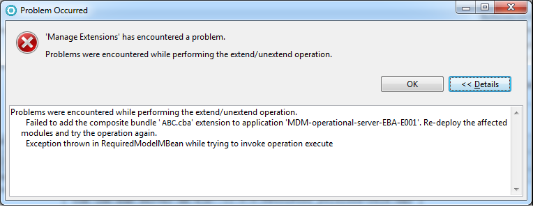 3. The InfoSphere MDM operational server application won t start Error: Failed to add the composite bundle xxx extension to application Browse the WebSphere SystemOut.