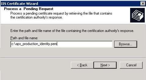 Complete the Certificate Request from IIS Manager 6 1. Return to the IIS Manager. Select Start > Control Panel > Administrative Tools > Internet Information Services (IIS) Manager. 2.