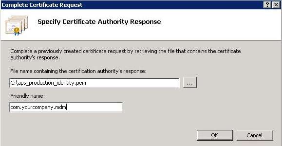 Complete the Certificate Request from IIS Manager 7 or 8 1.