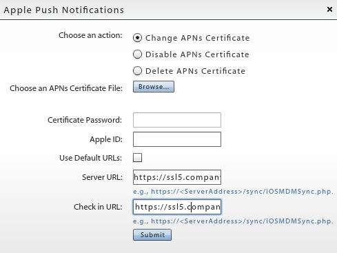 8. Click the Submit button. After you have uploaded an APNs certificate, it appears under the APN Certificate field on the dashboard in the format: com.apple.mgmt.