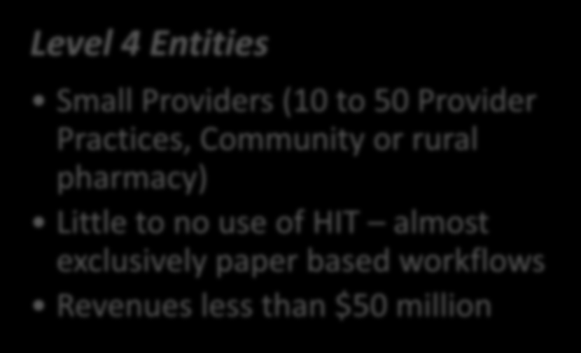 Breakdown of Auditees Level 1 Entities Large Provider / Health Plan Extensive use of HIT - complicated HIT enabled clinical /business work streams Revenues and or assets greater than $1 billion Level