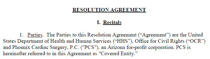 Resolution Agreement Fined $100K and
