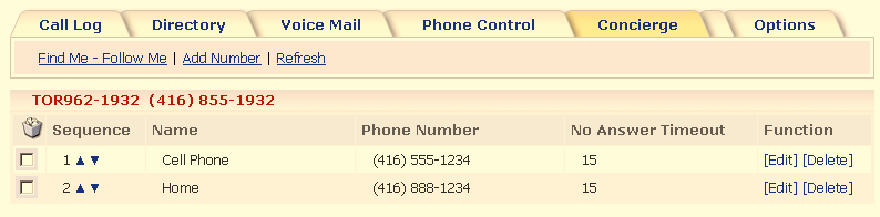 Concierge Tab > Menu Bar > Find Me Follow Me This feature can be set-up to ring alternate telephone numbers (simultaneously or sequentially), in an attempt to locate you when you are unable to