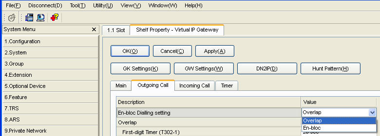 4.2.3 Programming the Network Settings 4. a. From the system menu, click Private Network. b. Click TIE Table. c. In the Leading Number box, type the starting digit of destination extension. d. Click OK.