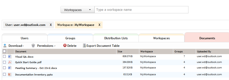 Figure 3: Search example - documents for a user in a workspace You can click on an item in a list to add it to the search filter.