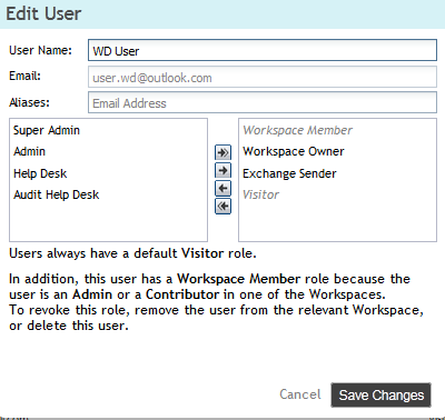 Remove Users Figure 5: Edit User dialog To remove WatchDox users and, optionally, their documents: 1. Select one or more users in the user list and click Remove. 2.