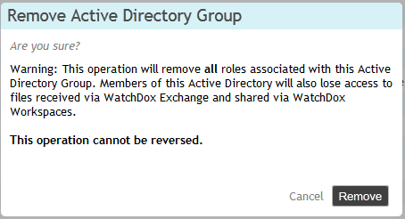 4. Click Save Changes. To delete roles assigned to a group: 1. Select the groups from the list. 2. Click Remove Active Directory Roles from the toolbar. 3.