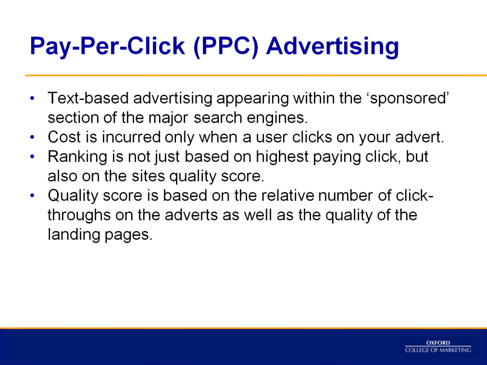 According to Econsultancy s (2013): Paid search marketing means you advertise within the sponsored listings of a search engine or a partner site by paying either each time your ad is clicked