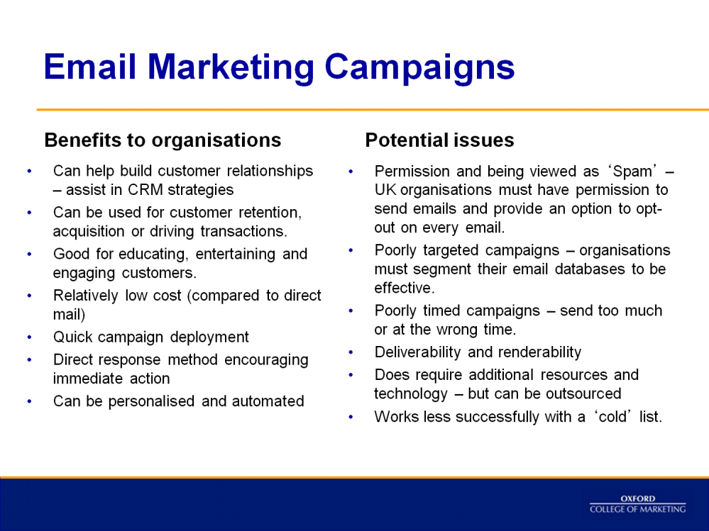 This slide provides an evaluation of email marketing.
