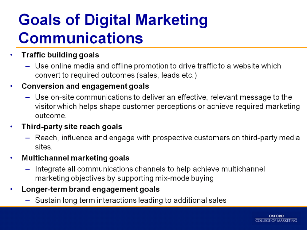 A digital marketing campaign plan should have five types of goals included.