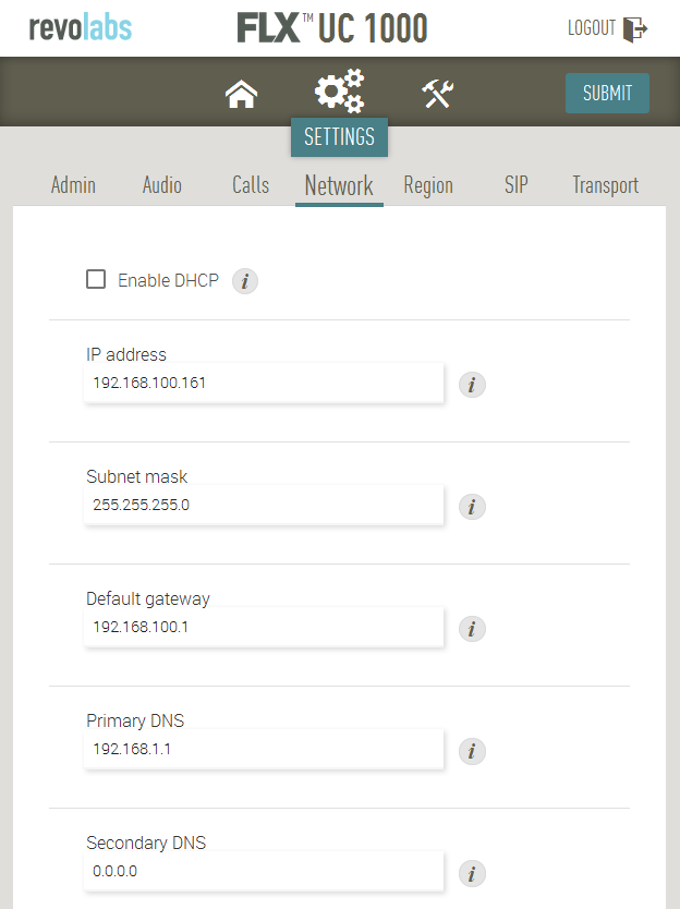 6.2. Administer Network Settings To configure network settings, click on Settings Network at the top of the web page.