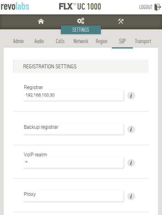 6.3. Administer SIP Settings To configure SIP settings, click on Settings SIP at the top of the web page.