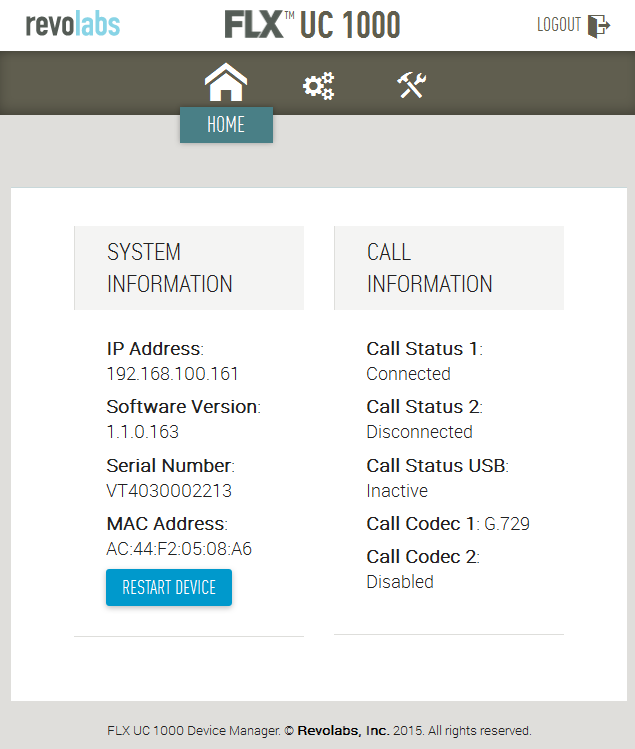 3. In the Home webpage of Revolabs FLX UC 1000, the Call Status will be set to Connected when it is