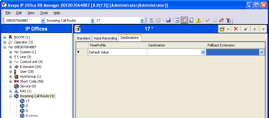 5.5. Administer Incoming Call Route From the configuration tree in the left pane, right-click on Incoming Call Route, and select New from the pop-up list to add a new route.