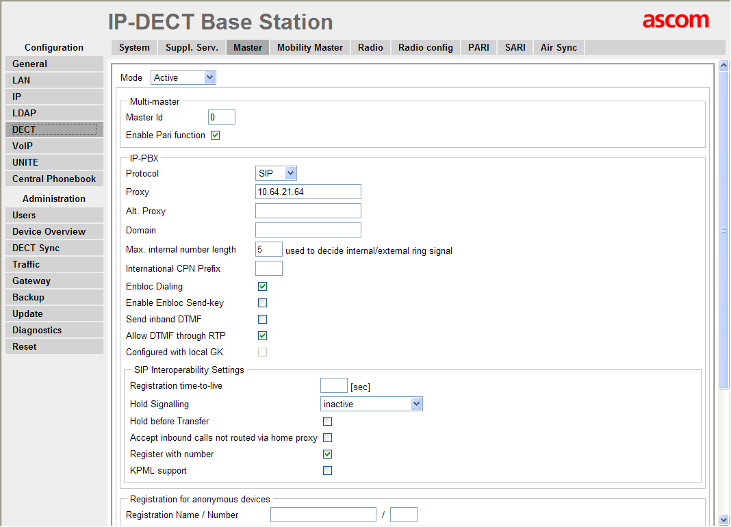 Step Description 10. Navigate to the DECT Master frame by clicking DECT and then clicking Master. Configure the fields displayed below and then click OK.