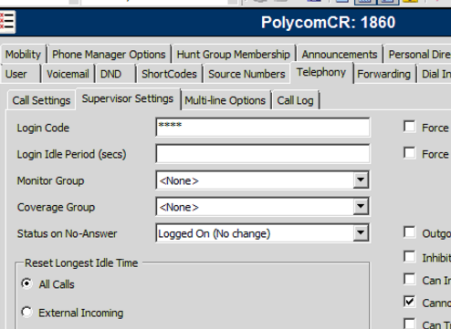 Step 5: Configure the user The Name and Extension fields will be used in the web programming interface of the Polycom Soundstation.