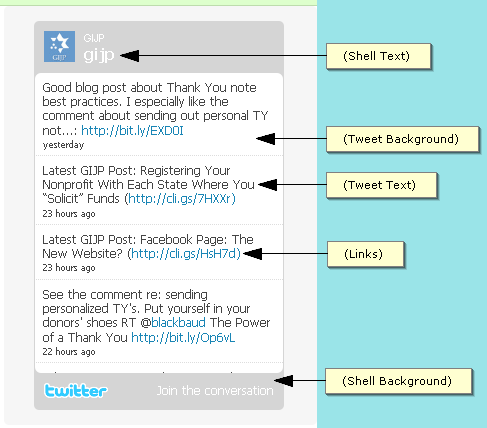 TWITTER WIDGETS Twitter has developed a few widgets that allow organizations to include an updated list of Tweets right on their website or blog.