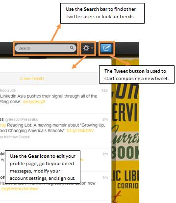 The Twitter Dashboard Top Navigation Bar: Use the links to navigate to the Home, @Connect, #Discover, and Me tabs.