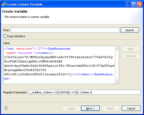 Figure 7: Create Custom Variable sso_token Screen 1 In the Create Custom Variable dialog, enter the following into the Regular Expression field and click Next :