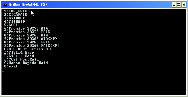 Step 3: Double-click MENU.exe. An MS-DOS prompt screen similar to Figure 18 below will appear. Figure 18 Step 4: Insert an empty floppy disk. Press 2 to select the 2)GIGARAID item.