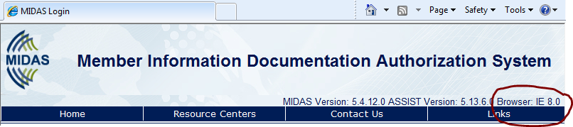 Note: You can see what browser you are using by looking above the menu on the sfca-midas.com login page. In the example below, IE indicates that the browser is Internet Explorer, version 8.0.