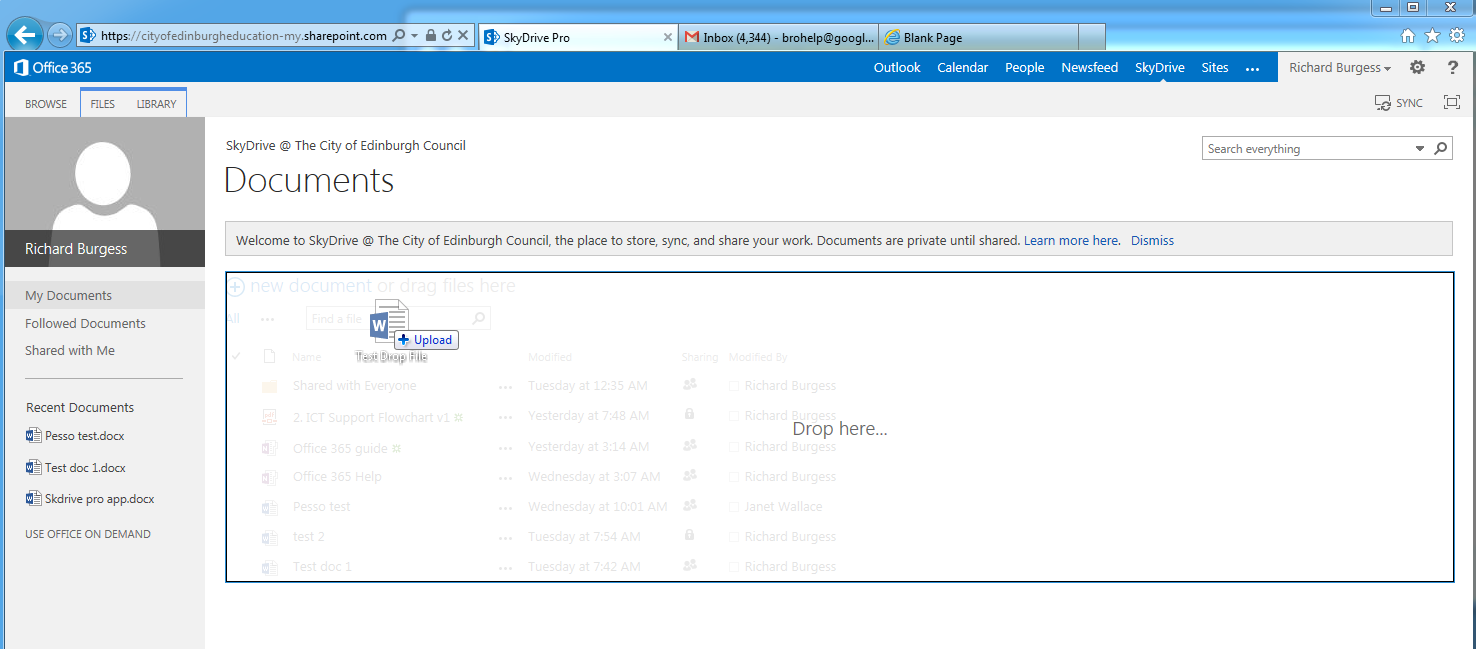 1. SkyDrive Pro on the Web As part of Office 365, every user has a file storage area in the cloud called SkyDrive Pro. You can access SkyDrive Pro on a range of devices using a web browser.