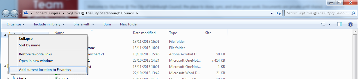 SkyDrive Pro on Your PC continued You now have the SkyDrive Pro folder on your hard