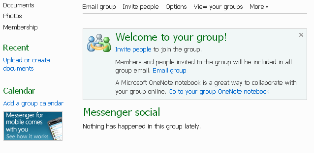 3. Name your group, and add email addresses to add members. Click Create. 4. You will now be viewing the homepage for your group. Click Documents to create items for your group to view and edit.