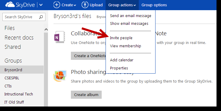 Creating and Working with Groups in SkyDrive You can easily share single documents or folders of documents from your personal SkyDrive account with others, but you can also create groups where