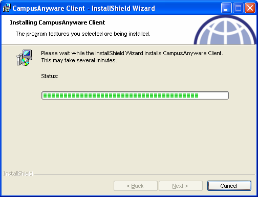 9. Click on Install on the Ready to Install the Program window. 10. The following screen will appear during the installation of CampusAnyware. 11. Click on Finish when the installation is complete.