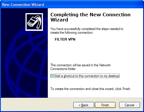 Page 5 After the wizard is through creating your VPN connection, it automatically takes you