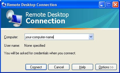 Page 9 A Remote Desktop Connection window will appear like the one below: Enter your computer name and click Connect.