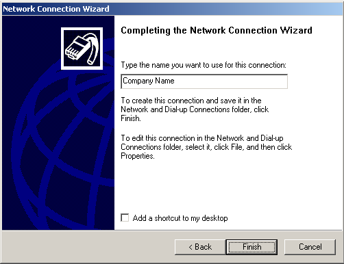 Microsoft VPN Figure 98: Windows 2000 VPN Host 4. On the screen above, enter the Domain Name or Internet IP address of the VPN Broadband Router you wish to connect to. Click Next to continue.