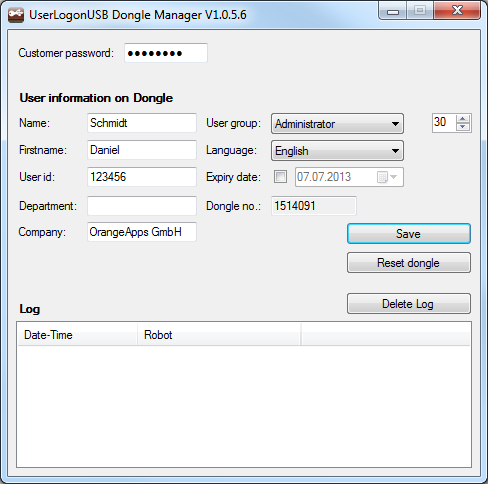 User interface of the dongle manager 9 4 User interface of the dongle manager The user interface shows: 1. Customer password input field 2. Window for entering the user data 3.