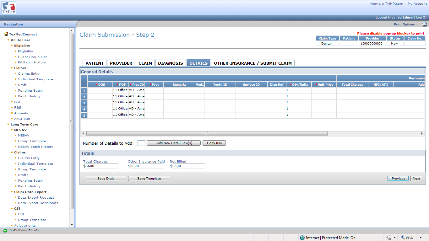 Diagnosis Tab 3) Enter dental-specific information into all required fields, which are indicated by a red dot.