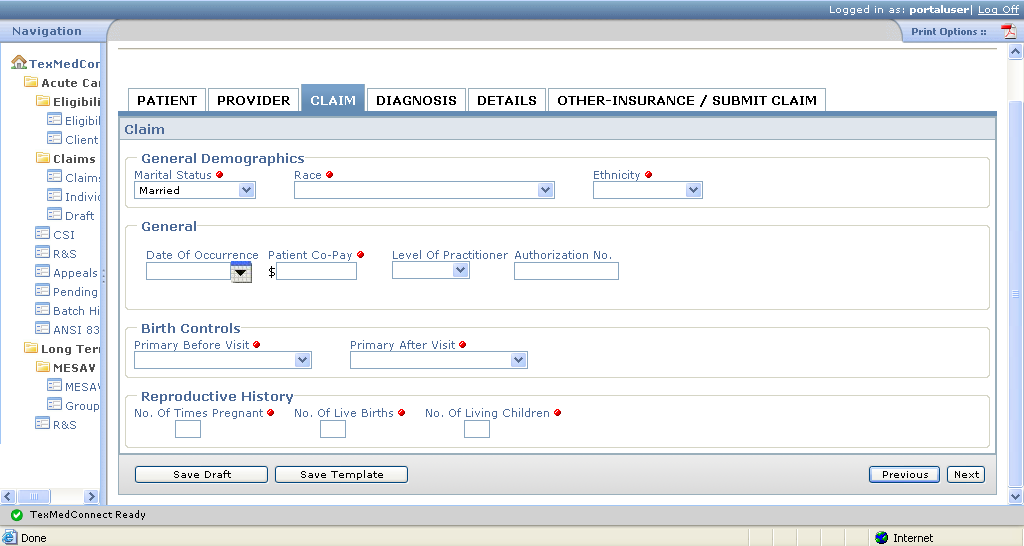 Claim Tab 5) Enter claim information into all required fields, which are indicated by a red dot. 6) Ensure the data entered meet field edit requirements: Alphanumeric Authorization No.