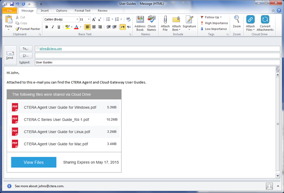 1 Release Contents Outlook Plug-in The Outlook Plug-in is a Microsoft Outlook plug-in that replaces standard e-mail attachments with public links.