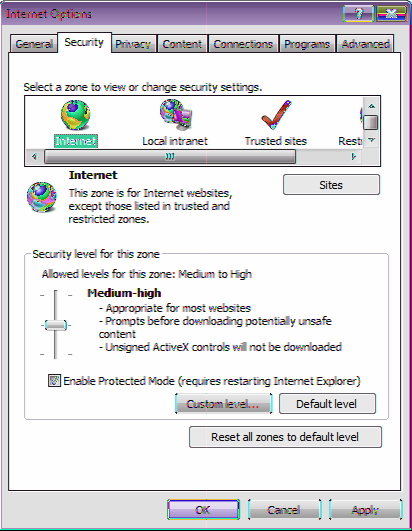3. Select the [Security] tab in the [Internet Options] dialog box. 4. Select the [Internet] icon and click [Custom level] ([Custom Level] for Internet Explorer 6.