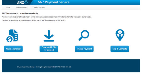Note, the Make a Payment icon is greyed out and not clickable when ANZ Transactive is available.