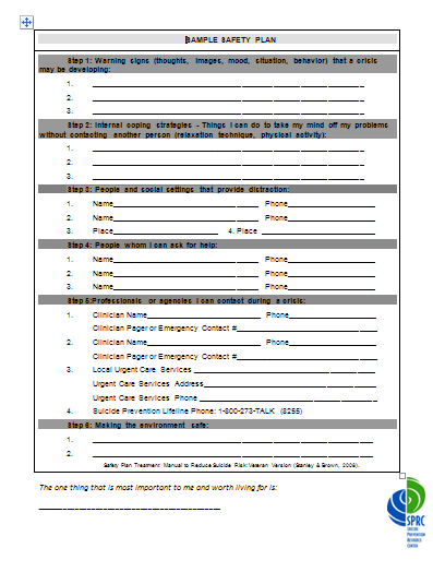 Suicide prevention tools for primary care pdf for Suicide safety plan template