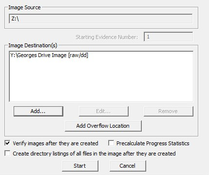 Make sure that Verify images after they are created is checked this will automatically create a hash for the image.