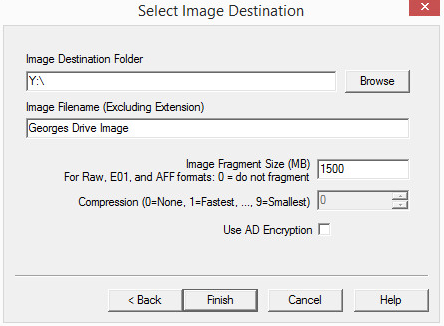 10. Note that the image destination has been changed to Y:\. The disk image will be saved to the Investigative Drive.