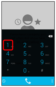 2. Touch and hold to dial your voicemail number. Your phone dials the voicemail access number. 3.