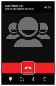 4. To end the three-way call, touch. If the screen is locked, drag down to end the call. Note: If one of the people you called hangs up during your call, you and the remaining caller stay connected.