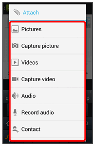 5. Touch Attach. 6. In the Attach window, select from the following file attachments: Pictures: Attach a stored picture.