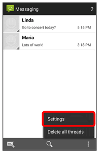 Text and MMS Options The messages settings menu lets you control options for your text and MMS messages including message limits, size settings, and notifications. 1.