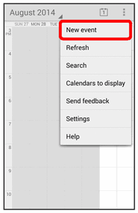 The Calendar app opens. 2. Touch > New event. The add event window opens. 3.
