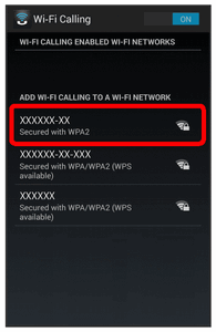 Wi-Fi Calling is enabled. Available Wi-Fi networks are displayed. To disable Wi-Fi Calling, touch the slider again.