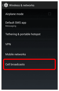 Cell Broadcasts Settings Cell broadcasts settings allow you to configure emergency alert settings.