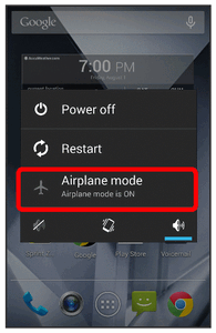 2. Touch Airplane mode. Your phone s wireless connection features are now restored. Enter Text You can type on your phone using one of the available touchscreen keyboards or Google voice typing.